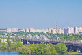 Darnitsa bridge over dniper view on in kiev ukraine Stock Image