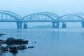 Darnitskiy bridge automobile and railroad in kiev across the dnieper river Stock Image