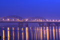 Darnitskiy bridge automobile and railroad in kiev across the dnieper river Stock Photography