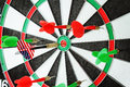 Dart in a bullseye close up of with american flag Stock Image