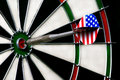 Dart hitting bullseye on dartboard Royalty Free Stock Photography