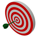 Dart hitting center target on dartboard white background Royalty Free Stock Photos