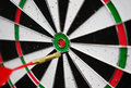 Dart missing the right target close up detail Royalty Free Stock Image