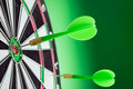 Dart pinned on the center of rings group Royalty Free Stock Photo