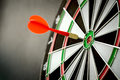 Dart right on target concept using in the bullseye on dartboard Stock Photo