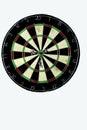 Dart strikes the bulls eye of a dartboard wide shot board from below three darts with Stock Photos