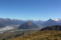 Dart valley lake wakatipu view over from mt judah queenstown lakes district Stock Photo
