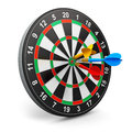 Dartboard with arrows creative abstract success leadership and winning competition concept darts game and color isolated on white Stock Image