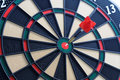 Dartboard bullseye hit the nail on the head sport and leisure game Royalty Free Stock Photos