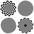 Dartboard & Checkerboard Spirals Stock Photo