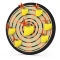 Dartboard with notes Royalty Free Stock Photos