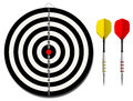 Dartboard with two darts Royalty Free Stock Images