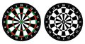 Dartboard vector illustration of color and black and white for darts game isolated on white background Stock Photo