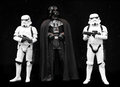 Darth vadder and stormtroopers star wars a pair of characters from george lucas appearing at the photography show uk march st Royalty Free Stock Images