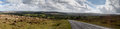 Dartmoor panorama of taken on a summers day showing the centre of the moor near the village of postbridge Royalty Free Stock Image