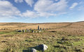 Dartmoor stone circle at down tor and row alignment on national park in devon also known as hingston hill Stock Image
