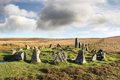 Dartmoor stone circle at down tor and row alignment on national park in devon also known as hingston hill Stock Photography
