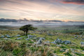 Dartmoor sunset a cloudy over national park in devon from coombestone tor Stock Photo