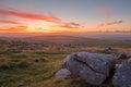 Dartmoor sunset from rowtor national park devon uk Stock Image