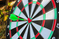 Darts arrow in the target center of the heart Royalty Free Stock Photo