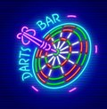 Darts bar neon sign icon Royalty Free Stock Photo