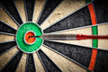 The darts in bull`s eye Royalty Free Stock Photo