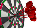 Darts hitting bulls eye Royalty Free Stock Images