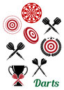 Darts sporting red and black design elements for emblems or logo including crossed lined target board trophy cup text Royalty Free Stock Photography