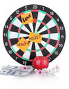 Darts with a stickers symbolizing love Stock Photo