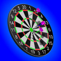 Darts stuck in the board on a blue background