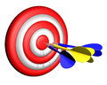 Darts target practice aiming dart cut in half and the Royalty Free Stock Image