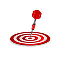 Darts target of red color and dart on a white background Royalty Free Stock Photos