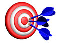 Darts target shooting three in the Royalty Free Stock Photo