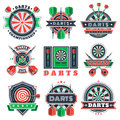 Darts tournament icons and badges for sport clubs. Royalty Free Stock Photo