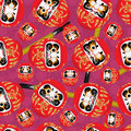Daruma brush seamless pattern