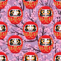 Daruma cherry seamless pattern