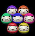 Daruma doll in mix color concept in white isolate background Stock Image