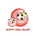 Daruma new year card japanese nengajo with dolls Royalty Free Stock Photo