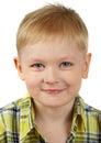 Das Portrait des Jungen der Blondine, die lächelt. Stockfotografie