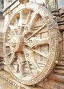 Das Rad des Chariot des Sun-Gottes am Konark Tempel Stockfotos