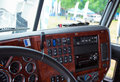 Dashboard console in interior of modern truck inlaid wood
