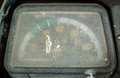 Dashboard in old desolated motorcycle Stock Photo