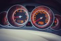 Dashboard tachometer and speedometer Royalty Free Stock Photo