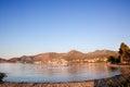 Datça Stadt mit Bergen und Ägäischem Meer. Die Türkei Lizenzfreies Stockbild