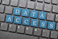Data access blue key on laptop Royalty Free Stock Photography