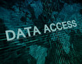 Data access text concept on green digital world map background Royalty Free Stock Photos