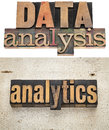 Data analysis and analytics text in vintage letterpress wood type Royalty Free Stock Image