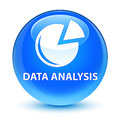 Data analysis (graph icon) glassy cyan blue round button