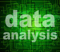 Data analysis means analyse bytes and investigate representing analytics analyzing Stock Photo