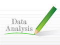 Data analysis message written on a notepad paper Stock Photography